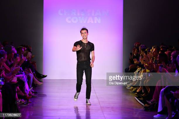 Designer Christian Cowan walks the runway for Christian Cowan during New York Fashion Week: The Shows at Gallery II at Spring Studios on September...