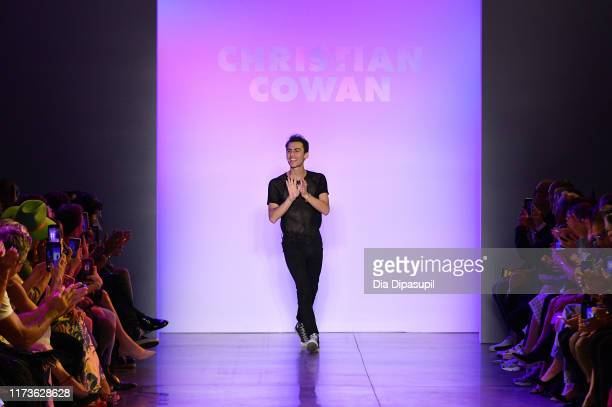 Designer Christian Cowan walks the runway for Christian Cowan during New York Fashion Week The Shows at Gallery II at Spring Studios on September 10...