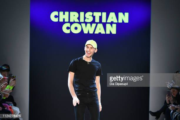 Designer Christian Cowan walks the runway for the Christian Cowan fashion show during New York Fashion Week The Shows at Gallery II at Spring Studios...