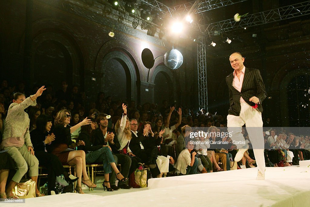 Designer Christian Lacroix takes the catwalk after the presenttation of the Christian Lacroix 'Haute Couture' Fall/Winter 2005-2006 fashion collection.