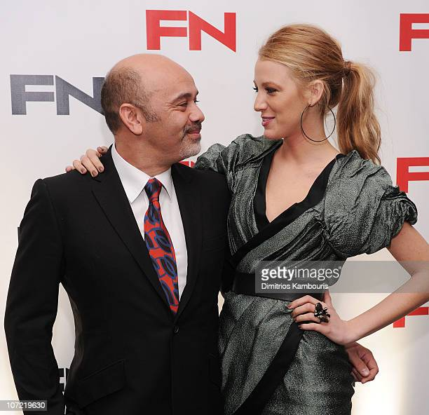 Designer Christian Louboutin and actress Blake Lively attend Footwear News 24th Annual Achievement Awards at The Museum of Modern Art on November 30...