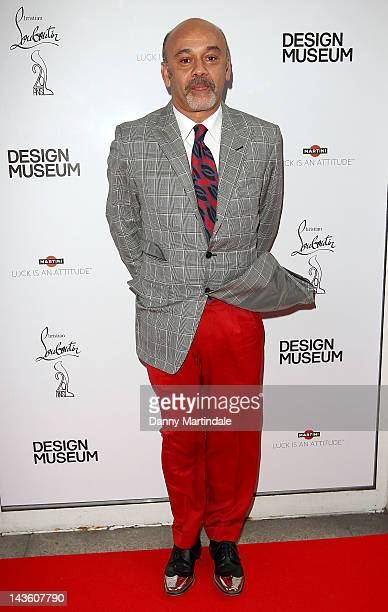 Designer Christian Louboutin attends private view of the exhibition celebrating 20 years of the famous red soled footwear brand on April 30 2012 in...