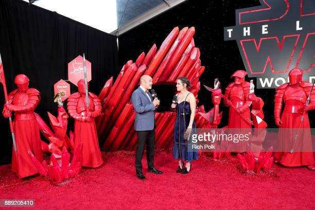 Designer Christian Louboutin is interviewed at Star Wars The Last Jedi Premiere at The Shrine Auditorium on December 9 2017 in Los Angeles California