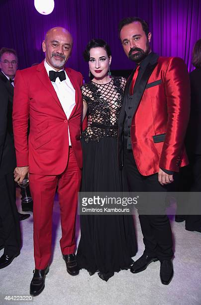 Designer Christian Louboutin performer Dita Von Teese and Evgeny Lebedev attend the 23rd Annual Elton John AIDS Foundation Academy Awards Viewing...