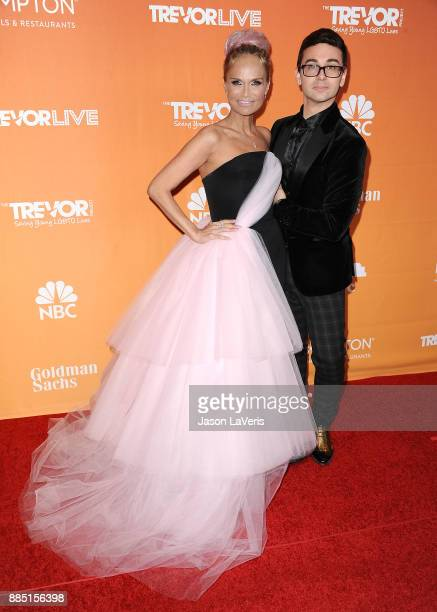 Designer Christian Siriano and actress Kristin Chenoweth attend The Trevor Project's 2017 TrevorLIVE LA at The Beverly Hilton Hotel on December 3...