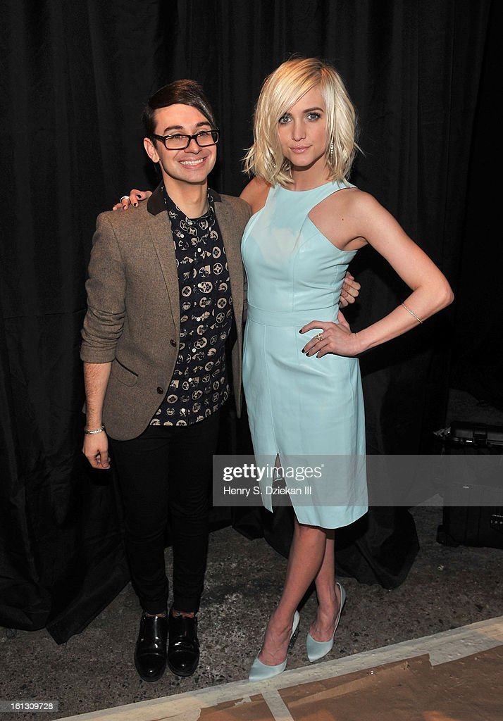 Designer Christian Siriano and Ashlee Simpson attend Christian Siriano during Fall 2013 Mercedes-Benz Fashion Week at Eyebeam on February 9, 2013 in New York City.