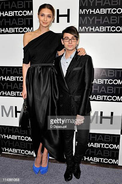 Designer Christian Siriano and model Anna Schilling attend the launch of MYHABITcom at Skylight West on May 18 2011 in New York City