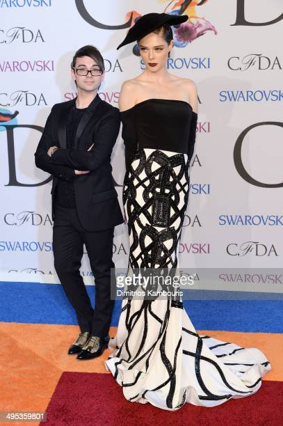 Designer Christian Siriano and model Coco Rocha attend the 2014 CFDA fashion awards at Alice Tully Hall Lincoln Center on June 2 2014 in New York City
