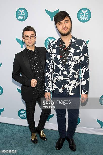 Designer Christian Siriano and singer Brad Walsh attend the 8th Annual Shorty Awards at The New York Times Center on April 11 2016 in New York City