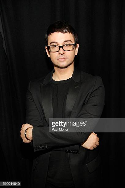 Designer Christian Siriano is seen backstage at the Christian Siriano Fall 2016 fashion show during New York Fashion Week at ArtBeam on February 13...
