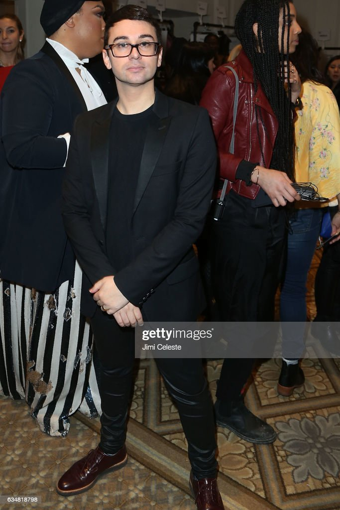 Designer Christian Siriano poses backstage at the Christian Siriano show during 2017 February New York Fashion Week in the Grand Ballroom at The Plaza Hotel on February 11, 2017 in New York City.