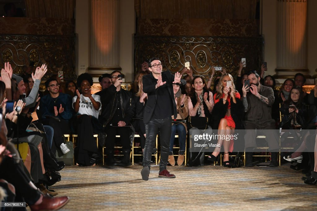 Designer Christian Siriano takes a bow on the runway after the Christian Siriano collection during, New York Fashion Week: The Shows at The Plaza Hotel on February 11, 2017 in New York City.