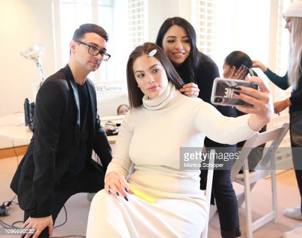 Designer Christian Siriano, TRESemme Global Stylist Justine Marjan and Model Ashley Graham are seen backstage for TRESemme at Christian Siriano for...