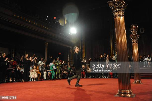 Designer Christian Siriano walks the runway for the Christian Siriano fashion show during New York Fashion Week at the Grand Lodge on February 10...