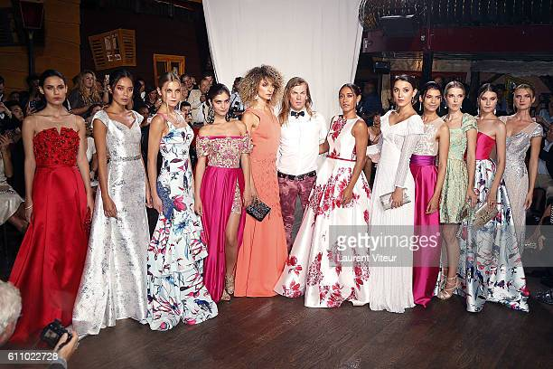 Designer Christophe Guillarme, Actress Josephine Jobert and Models walk the runway during the Christophe Guillarme show as part of the Paris Fashion...