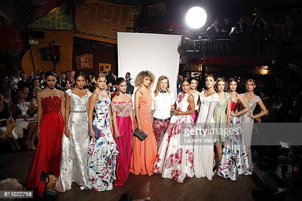 Designer Christophe Guillarme Actress Josephine Jobert and Models walk the runway during the Christophe Guillarme show as part of the Paris Fashion...