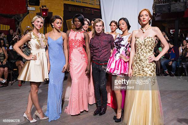 Designer Christophe Guillarme aknowedges the audience after his show as part of the Paris Fashion Week Womenswear Spring/Summer 2015 on September 23,...