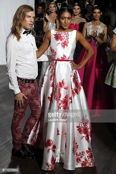 Designer Christophe Guillarme and Actress Josephine Jobert walk the runway during the Christophe Guillarme show as part of the Paris Fashion Week...