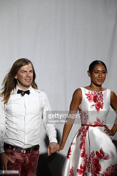 Designer Christophe Guillarme and Actress Josephine Jobert walk the runway during the Christophe Guillarme show as part of the Paris Fashion Week...
