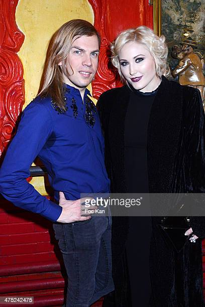 Designer Christophe Guillarme and Hayley Hasselhoff attend the Christophe Guillarme show as part of the Paris Fashion Week Womenswear Fall/Winter...