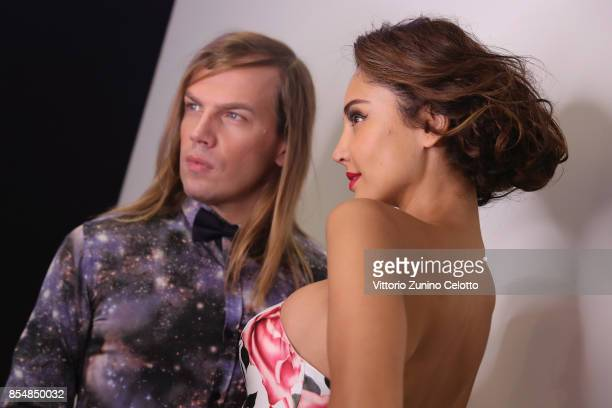 Designer Christophe Guillarme and Patricia Contreras pose prior the Christophe Guillarme show as part of the Paris Fashion Week Womenswear...