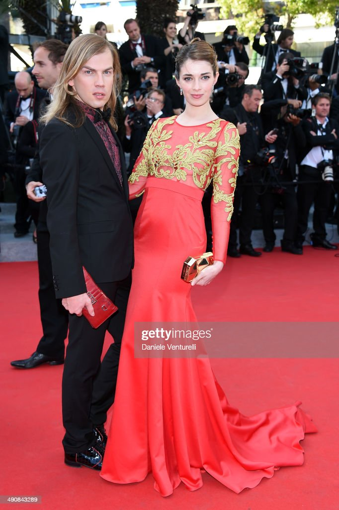 Designer Christophe Guillarme and Sarah Barzyk attend the 'Mr.Turner' Premiere at the 67th Annual Cannes Film Festival on May 15, 2014 in Cannes, France.