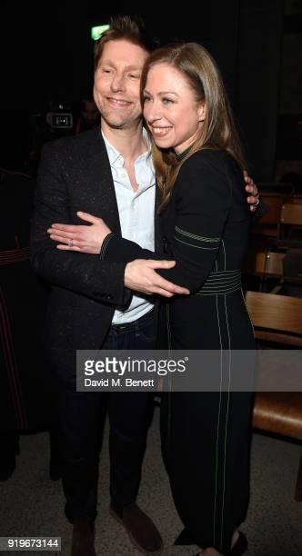 Designer Christopher Bailey and Chelsea Clinton are seen following the Burberry February 2018 show during London Fashion Week at Dimco Buildings on...