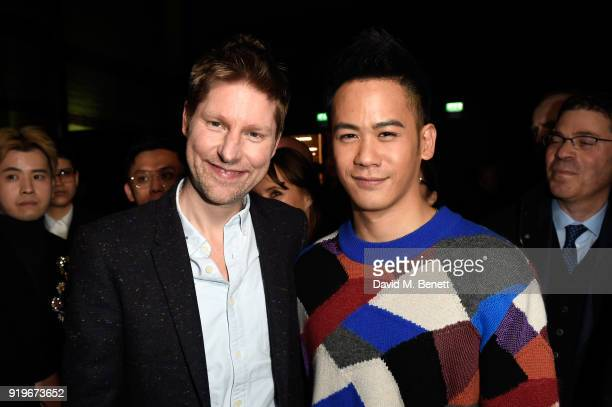 Designer Christopher Bailey and Mason Lee are seen following the Burberry February 2018 show during London Fashion Week at Dimco Buildings on...