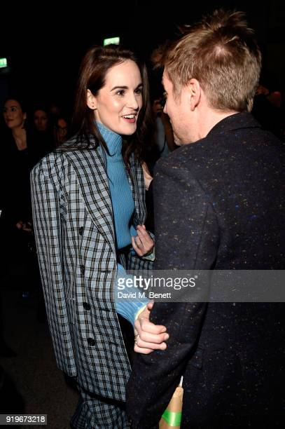 Designer Christopher Bailey and Michelle Dockery are seen following the Burberry February 2018 show during London Fashion Week at Dimco Buildings on...