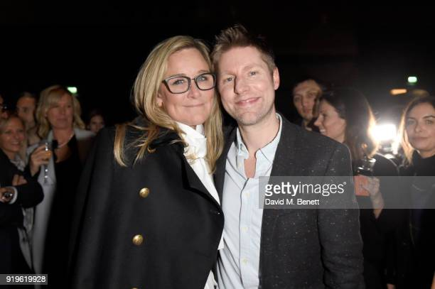 Designer Christopher Bailey and Senior Vice President of Apple Angela Ahrendts seen at the Burberry February 2018 show during London Fashion Week at...