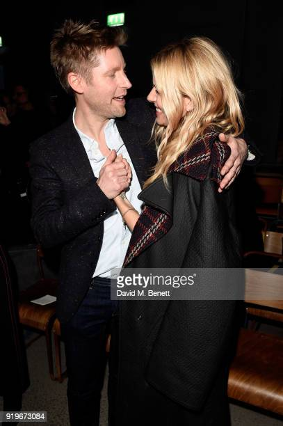 Designer Christopher Bailey and Sienna Miller are seen following the Burberry February 2018 show during London Fashion Week at Dimco Buildings on...