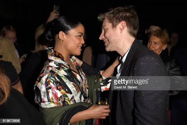 Designer Christopher Bailey and Tessa Thompson are seen following the Burberry February 2018 show during London Fashion Week at Dimco Buildings on...