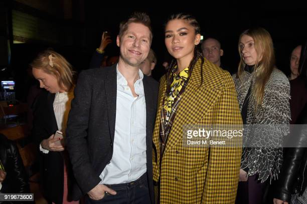 Designer Christopher Bailey and Zendaya are seen following the Burberry February 2018 show during London Fashion Week at Dimco Buildings on February...