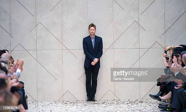 Designer Christopher Bailey during the Burberry Prorsum Spring/Summer 2012 show at London Fashion Week at Kensington Gardens on September 19, 2011 in...