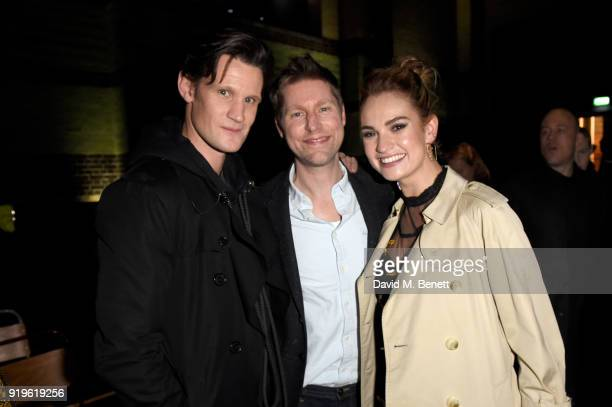 Designer Christopher Bailey Matt Smith and Lily James seen at the Burberry February 2018 show during London Fashion Week at Dimco Buildings on...