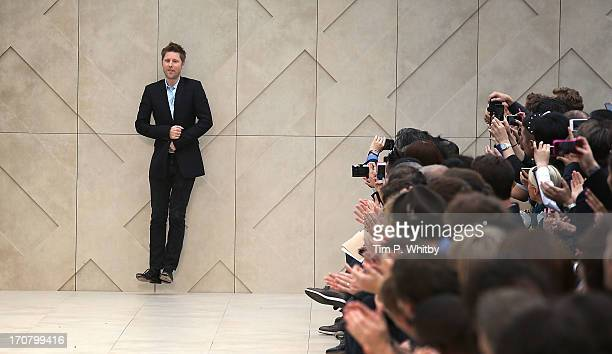 Designer Christopher Bailey on the runway at the Burberry Prorsum show at the London Collections: MEN SS14 at Kensington Gardens on June 18, 2013 in...