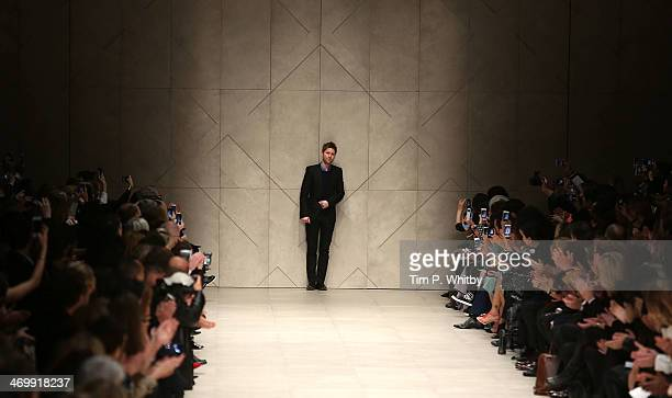 Designer Christopher Bailey on the runway at the Burberry Prorsum show at London Fashion Week AW14 at Perks Fields, Kensington Gardens on February...