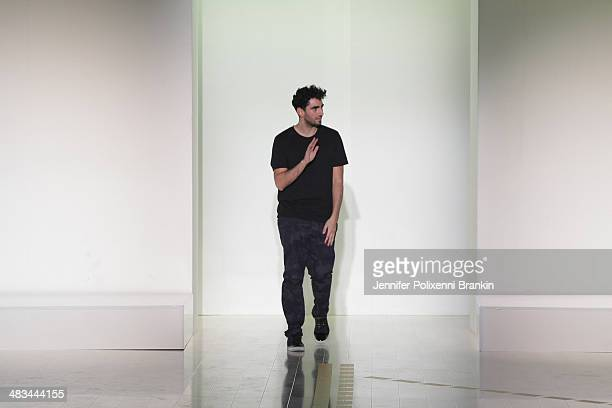 Designer Christopher Esber walks the runway at the Christopher Esber show during MercedesBenz Fashion Week Australia 2014 at Carriageworks on April 8...