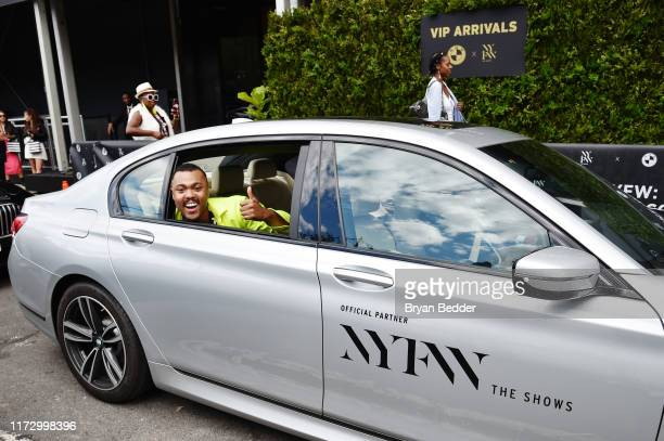 Designer Christopher John Rogers arrived to NYFW The Shows in a custombranded BMW 7 series sedan at Spring Studios on September 07 2019 in New York...