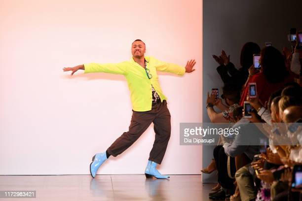 Designer Christopher John Rogers walks the runway for Christopher John Rogers during New York Fashion Week The Shows at Gallery II at Spring Studios...