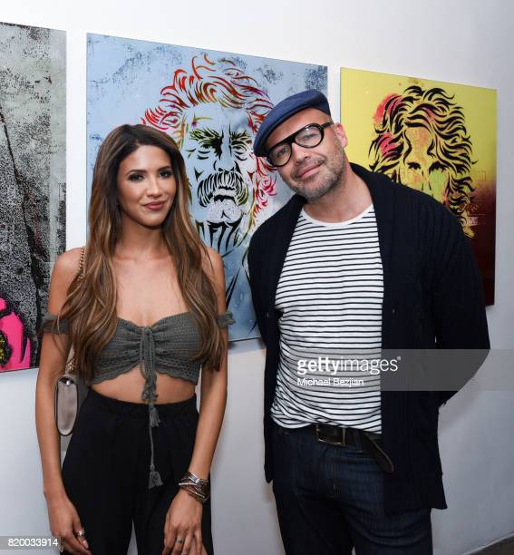 Designer CJ Franco and Billy Zane arrive at Val Kilmer's PopUp Art Exhibition 'Icon Go On I'll Go On' VIP Opening Reception at The Gabba Gallery on...