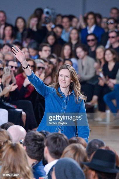 Designer Clare Waight Keller acknowledges the audience after the Chloe show as part of the Paris Fashion Week Womenswear Fall/Winter 2015/2016 on...