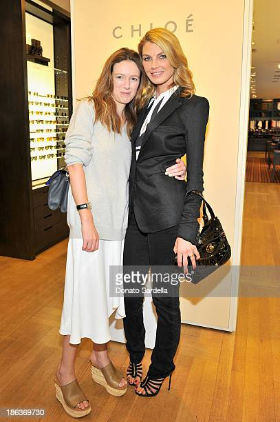 Designer Clare Waight Keller and model/actress Angela Lindvall attend Clare Waight Keller's launch of the 'Claire' handbag with Angela Lindvall and...