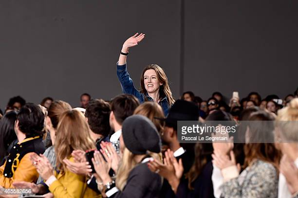 Designer Clare Waight Keller appears on the runway during the Chloe show as part of the Paris Fashion Week Womenswear Fall/Winter 2015/2016 on March...