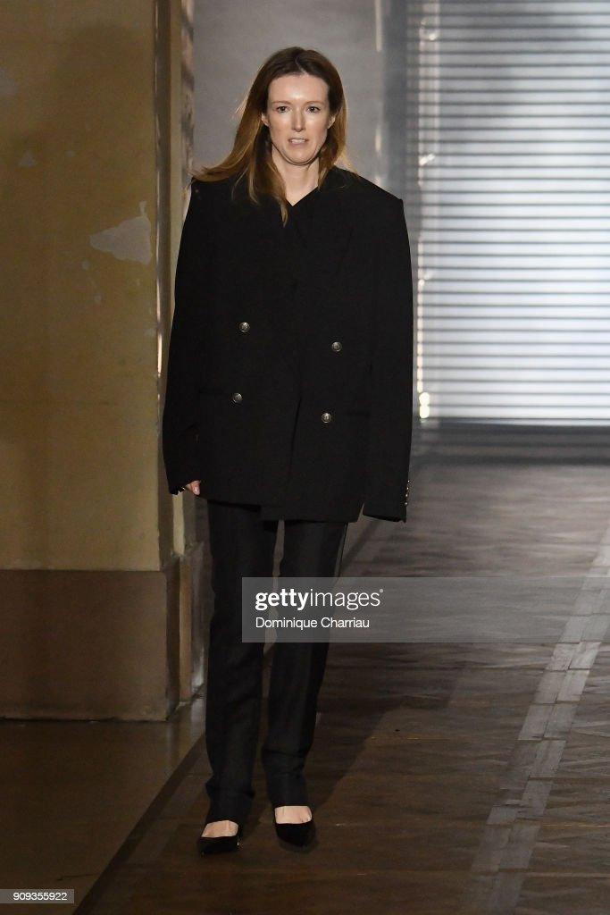 Designer Clare Waight Keller arrives on the runway at the end og the Givenchy Haute Couture Spring Summer 2018 show as part of Paris Fashion Week on January 23, 2018 in Paris, France.
