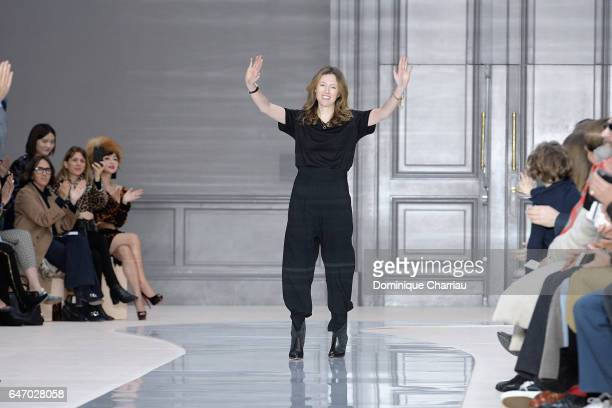 Designer Clare Waight Keller is seen on the runway during the Chloe show as part of the Paris Fashion Week Womenswear Fall/Winter 2017/2018 on March...