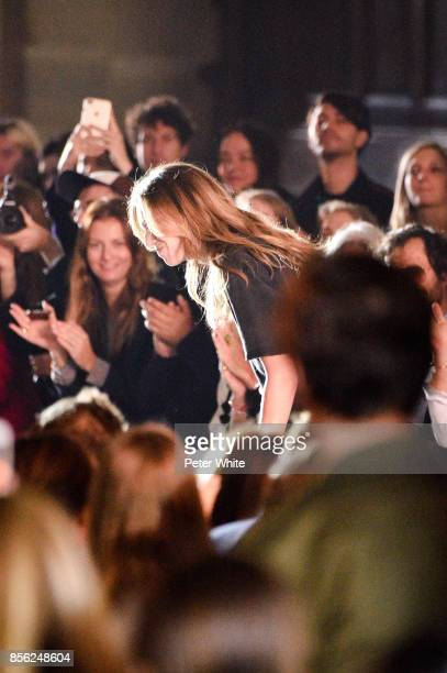 Designer Clare Waight Keller walks the runway at the end of the Givenchy show as part of the Paris Fashion Week Womenswear Spring/Summer 2018 on...