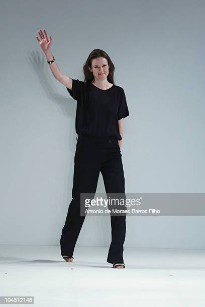 Designer Clare Waight Keller walks the runway at the Pringle of Scotland S/S 2011 show at London Fashion Week at Science Museum on September 20 2010...