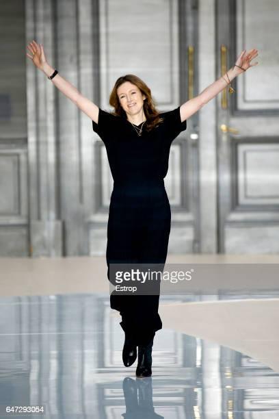 Designer Clare Waight Keller walks the runway during the Chloe designed by Clare Waight Keller show as part of the Paris Fashion Week Womenswear...