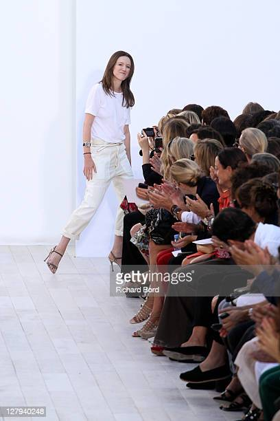Designer Clare Waight Keller walks the runway during the Chloe Ready to Wear Spring / Summer 2012 show during Paris Fashion Week at Espace Ephemere...